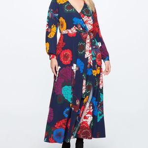 Eloquii Printed Floral Maxi Wrap Dress Size 14